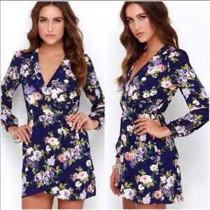 NWOT Lulu's Honey Punch Navy Floral Wrap Dress